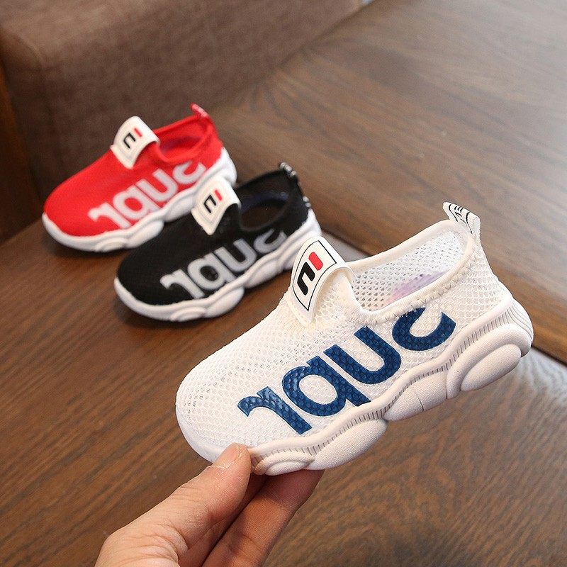 Baby Boys Girls Breathable Letter Print Anti-Slip Shoes Sneakers