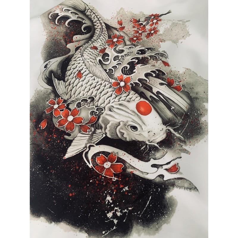 (ẢNH THẬT) Áo Sơ Mi Nam Họa Tiết Cá Chép Thư Pháp Cao Cấp SM37
