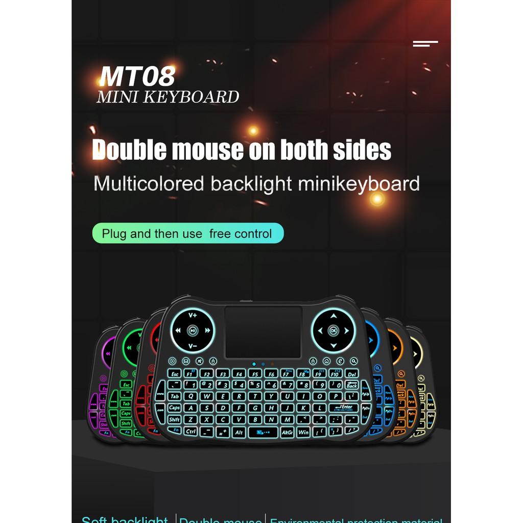 MT08 Bàn phím không dây mini có đèn nền LED đầy màu sắc Chuột không khí 2.4GHz cho PC Hai mặt không dây Con sóc bay Mini Bàn phím không dây Bàn di chuột điều khiển từ xa Android TV Box