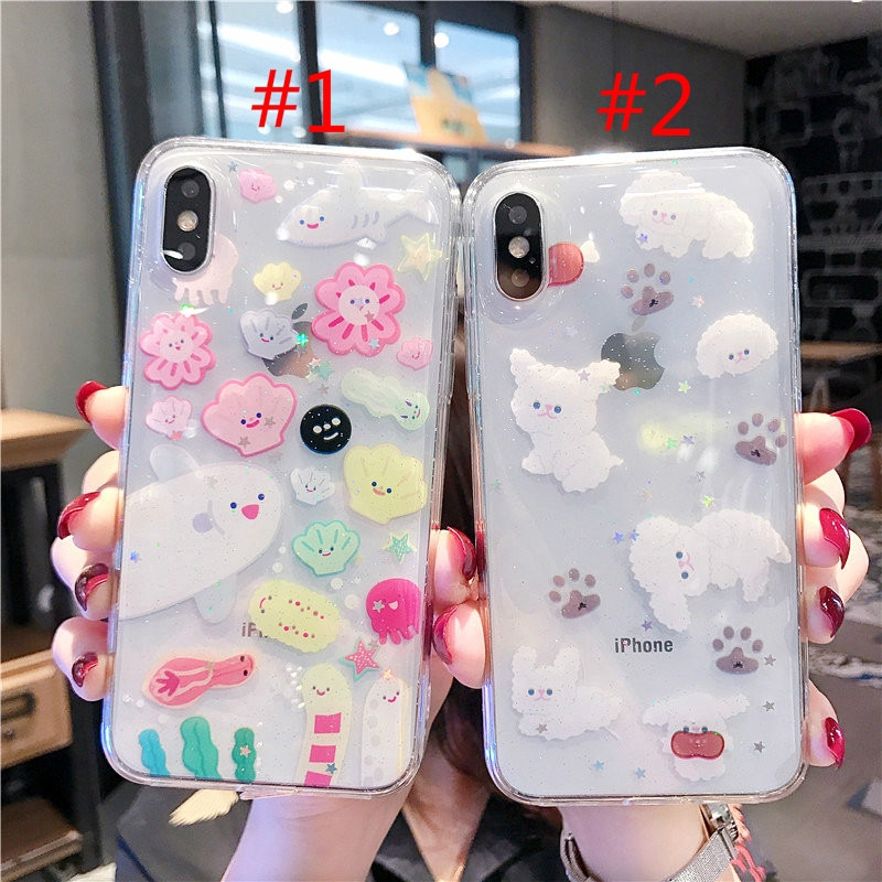 Cartoon Undersea World Casing IPhone 6S  6splus 7 8 8Plus XS XR XSMAX Phone Cover Glitter Soft Case Puppy Phone Case