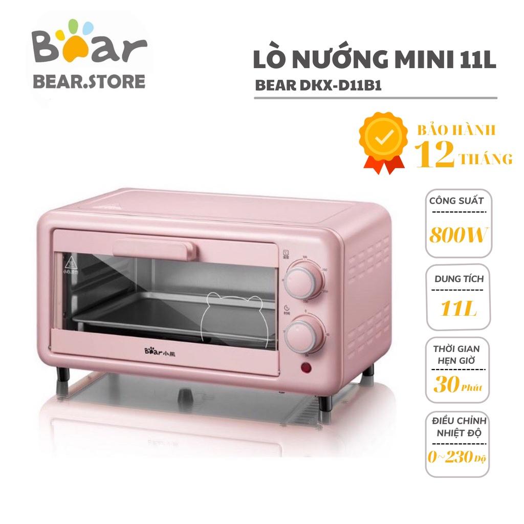 [Mã 1510ELSALE hoàn 7% đơn 300K] [có sẵn]Lò Nướng Mini BEAR Đa Năng BEAR D11B1 Màu Hồng 11L - Bảo Hành 12 Tháng