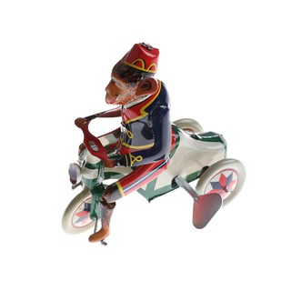 $VN 1PC Wind Up Toy Collectible Retro Clockwork Tin Toys Monkey Riding A Car