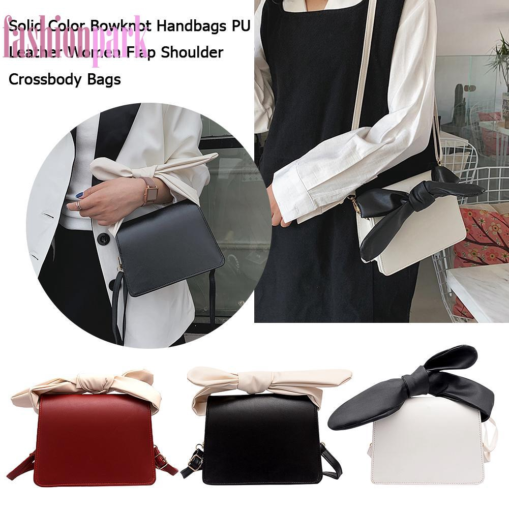 Túi xách da PU đeo vai phối nơ màu trơn cho nữ