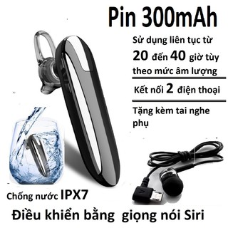 TAI NGHE BLUETOOTH CHỐNG NƯỚC X8 5.0,KẾT NỐI 2 ĐIỆN THOẠI CHO ÂM THANH CUỘC GỌI ( PIN 300mAh,CHỜ 90 NGÀY, NGHE NHẠC 30H) thumbnail