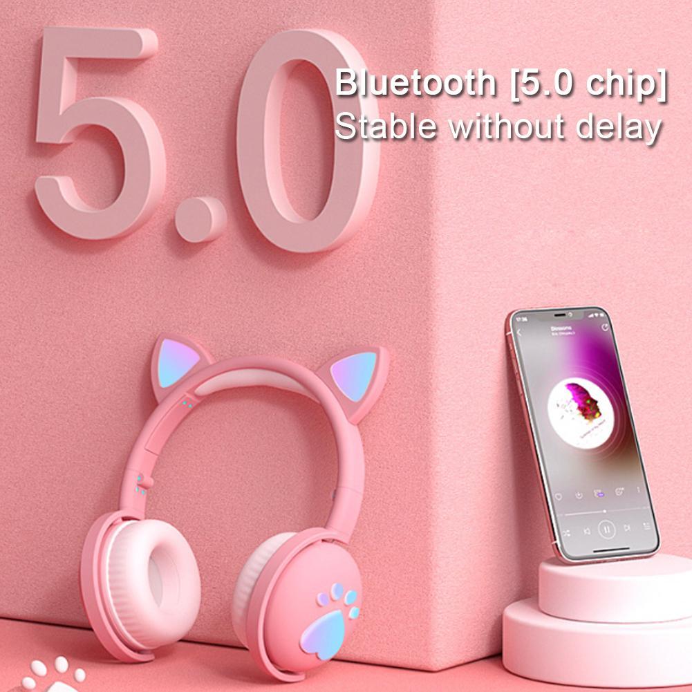🎉Tai nghe Bluetooth Tai nghe dễ thương LED mèo Tai nghe không dây HIFI âm thanh nổi Bass 3.5mm Cắm có Mic