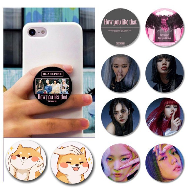 Giá đỡ điện thoại pop socket hình Black Pink và chó Shiba siêu kute