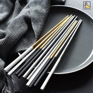 BANFANG Đũa gắp thức ăn làm từ thép không ghỉ thiết kế sang trọng trang trí bàn ăn