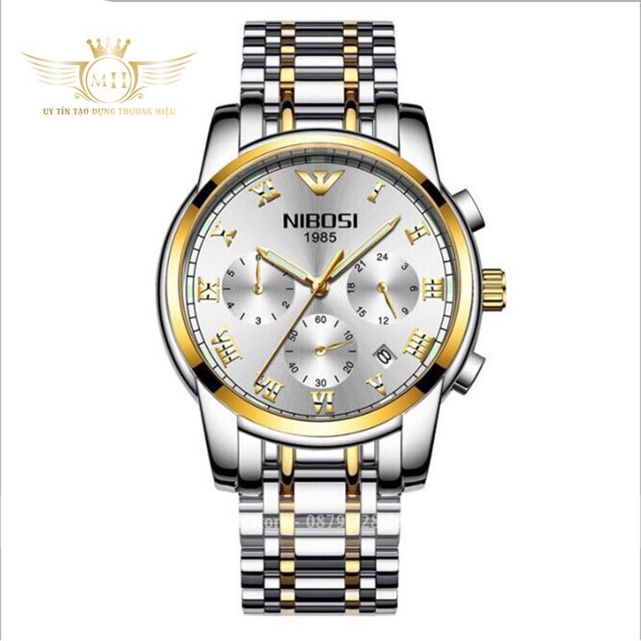 Đồng hồ nam Nibosi 1985 ⚡FreeShip⚡ Dây thép đúc không gỉ cao cấp - Đồng hồ Nibosi chính hãng ⚡ BH 12 tháng