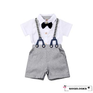 HGL♪2PCS Toddler Infant Baby Boys Gentleman Clothes Shirt Tops Bib Pants Outfits Set