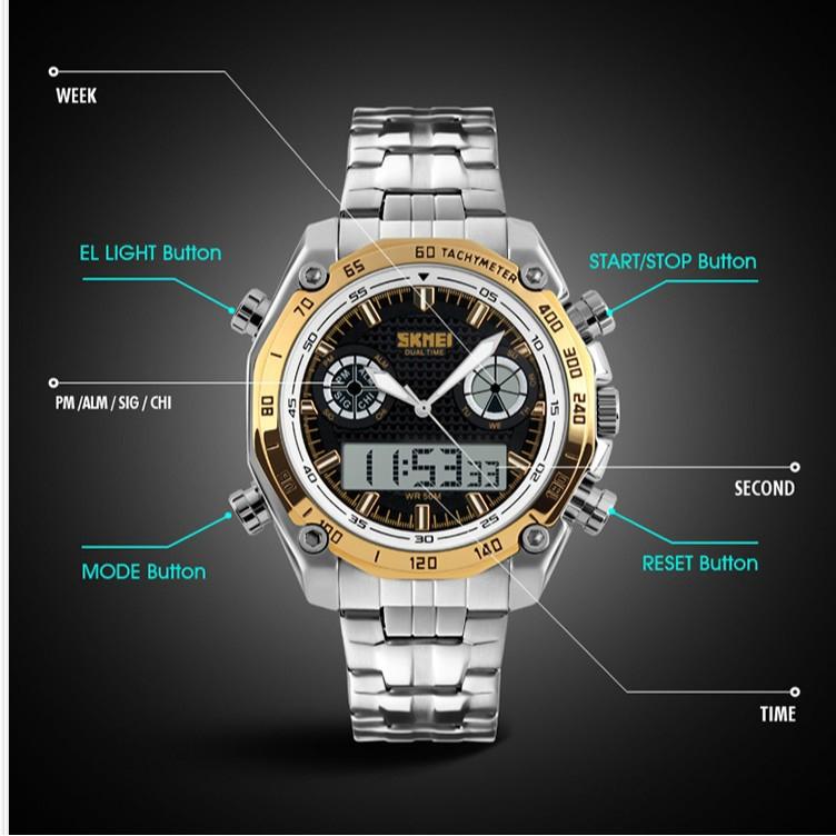 SKMEI 1204 sports style men's watch dual-screen backlit waterproof