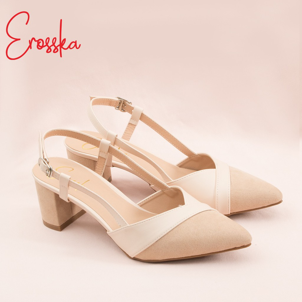 Hình ảnh Giày Sandal Nữ Đế Bệt Mũi Nhọn Thời Trang Erosska EL005 ( Màu Nude)-5