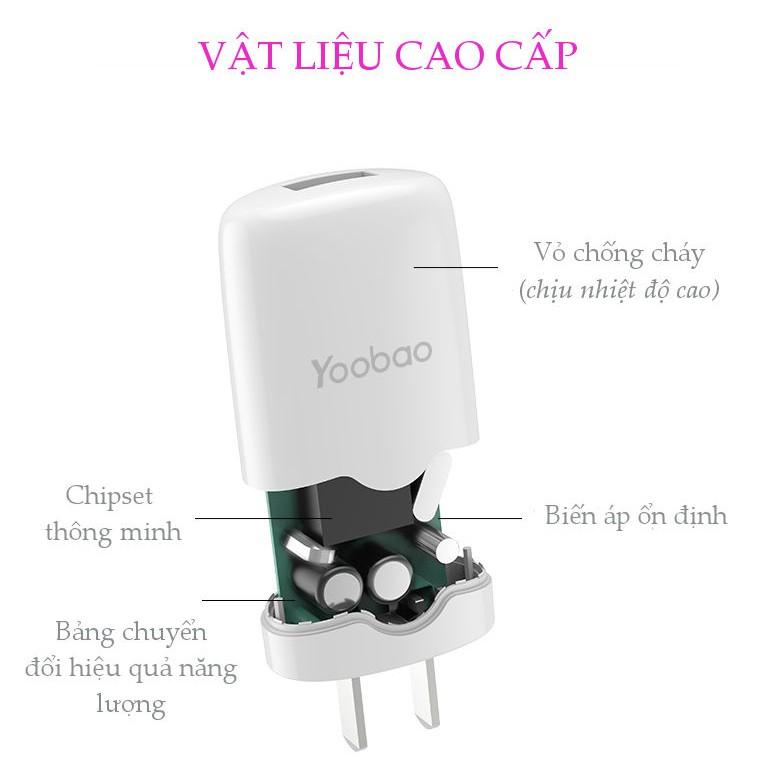 Cốc sạc 1 cổng USB chuẩn chân dẹt kiểu EU của YOOBAO Y-720
