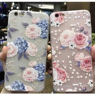 Ốp hoa châu âu iPhone 5 5s 6 6s 6 plus 6s plus 7 7 plus 8 8 plus x 3D hoa hồng hoa cẩm tú cầu