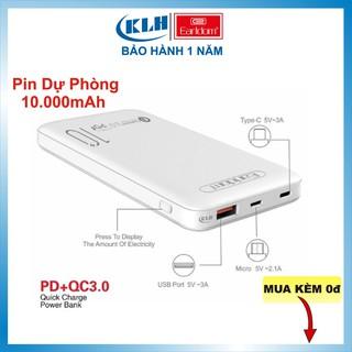 Pin sạc dự phòng 10.000 mAh, Pin tích điện tích hợp sạc nhanh Qualcomm 3.0 dung lượng chuẩn EU, Earldom PD 02 KLH