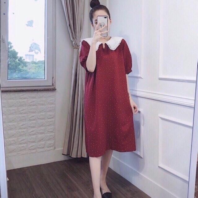 Váy Bầu Họa Tiết Chấm Bi Phối Cổ Nơ Bèo Siêu Xinh
