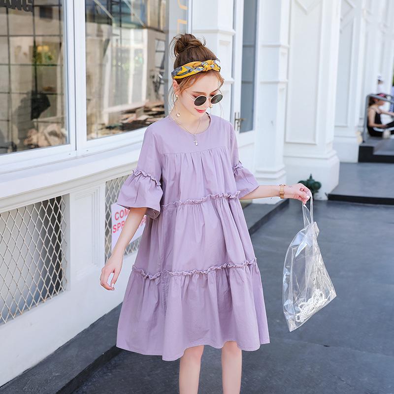 Đầm Cotton Dáng Rộng Thời Trang Mùa Hè Cho Mẹ Bầu