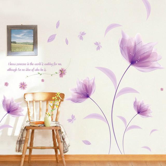 Decal dán tường hoa pha lê đá