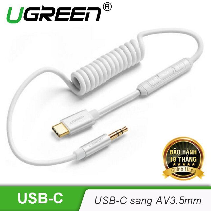 [HOT] Cáp USB-C sang AV 3.5mm dạng dây xoắn dài 0.5m-1m UGREEN AV143 - Hàng chính hãng