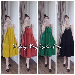 Váy bầu hai dây thiê t kê dáng suông MAXI cao câ p đẹp xinh yêu V213 thumbnail
