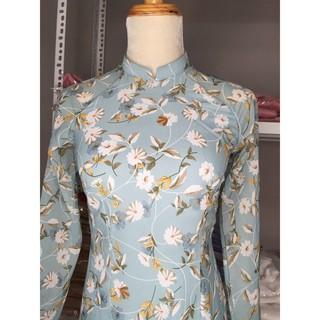 Áo dài hoa nhí xanh 4 tà truyền thống (ảnh thật tại shop)