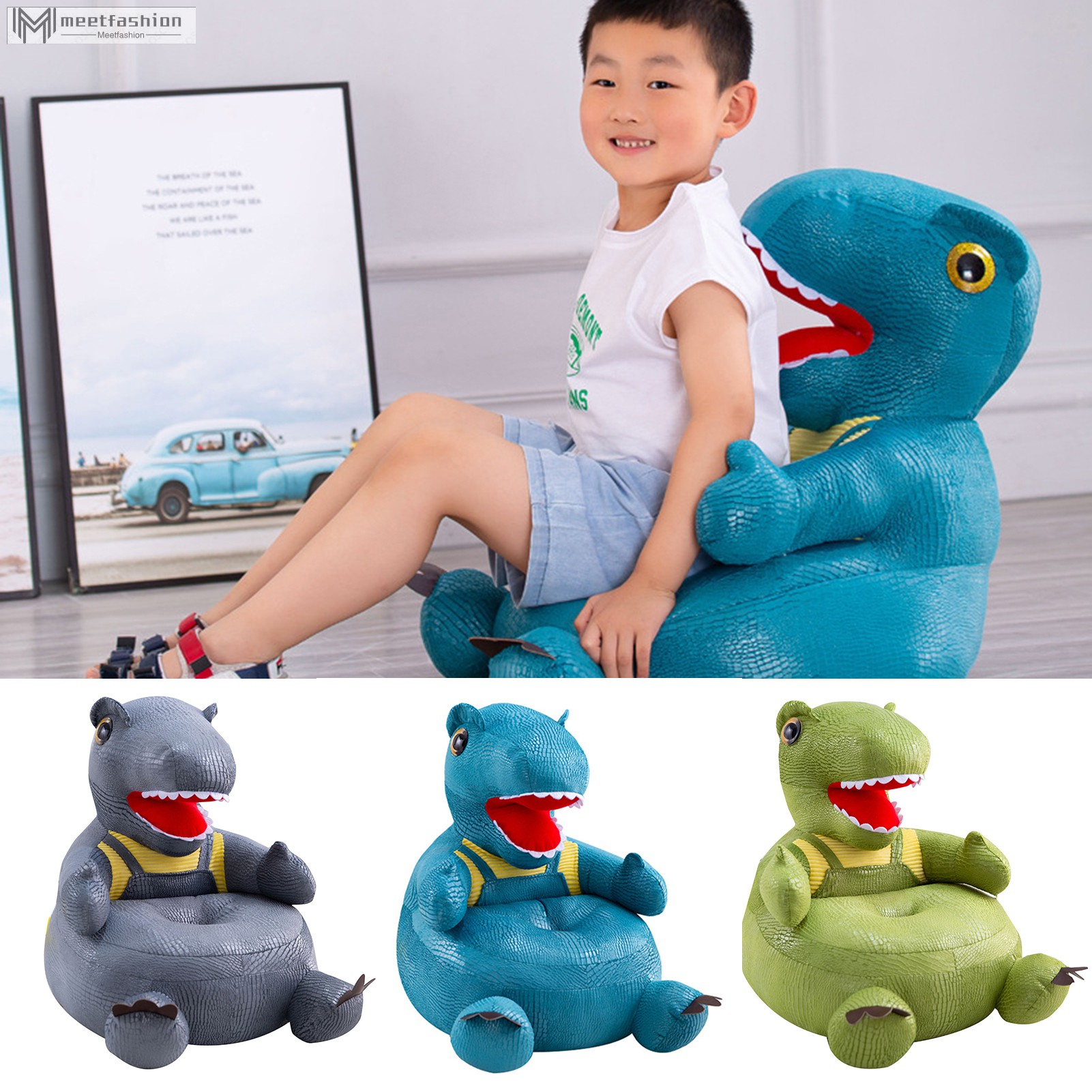 Dinosaur-shaped Plush Kids Sofa Cartoon Figure Soft Floor Chair Toy with Backrest & Armrest for Toddler Learning to Sit