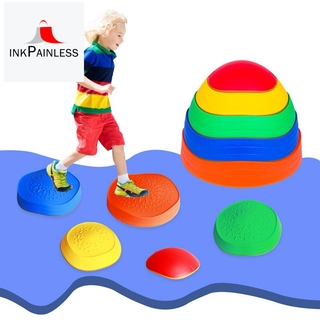 5 PCS Rainbow Crossing River Stepping Stones Kids Portable Stackable Wave Blocks for Balance Coordination Toys