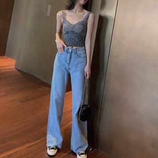 Quần Jean Dài Lưng Cao Ống Rộng Thời Trang 2020 Cho Nữ