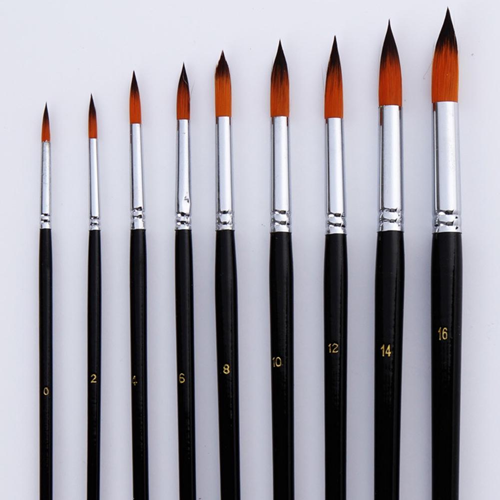 9pcs/Set Paint Brush Pen Wood Handles Oil Painting Watercolor Nylon Accessories Art Supplies Professional Lightweight