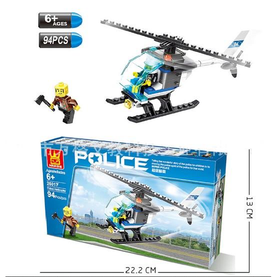 Bộ lắp ghép trực thăng cảnh sát truy đuổi tội phạm