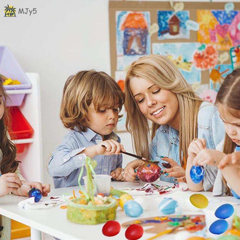 MJy5 12pcs Colorful Easter Eggs Children's Handmade Diy Plastic Egg Shell
