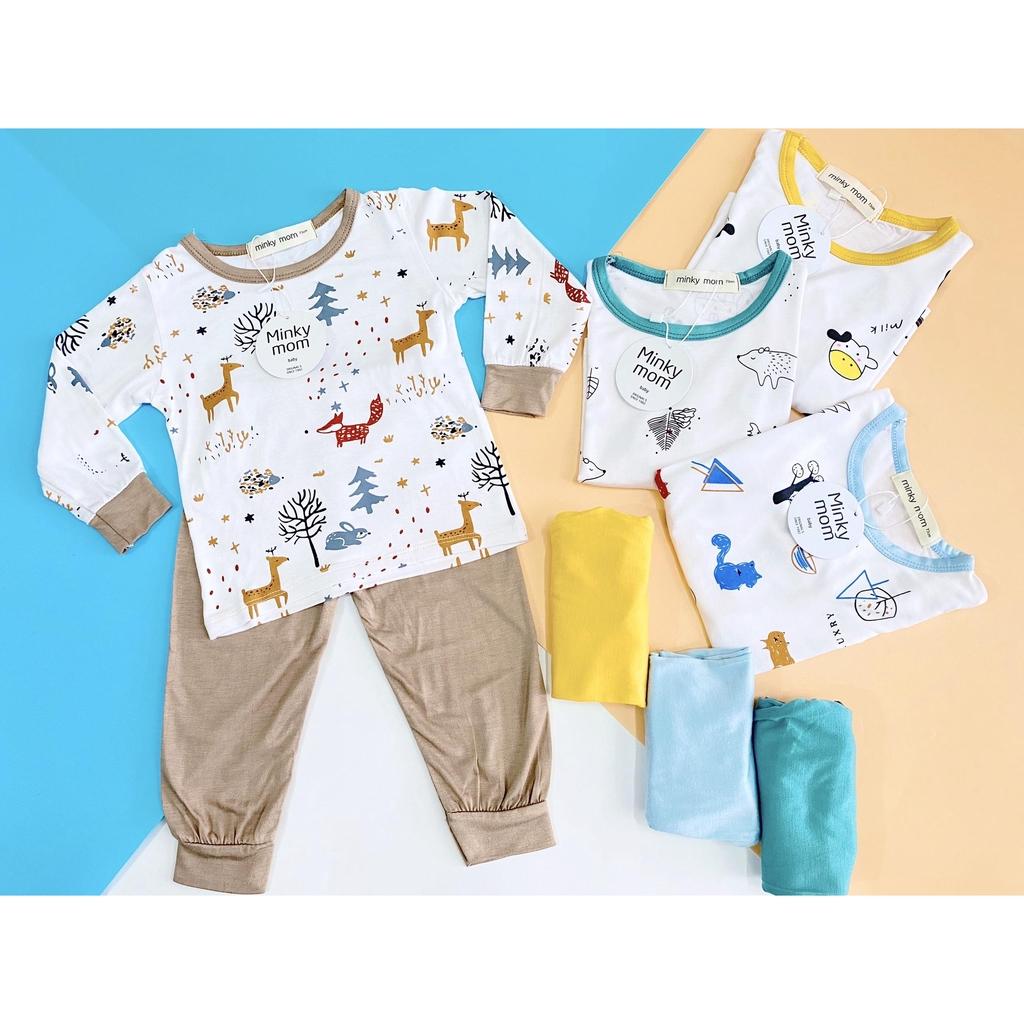 Bộ quần áo trẻ em thun lạnh cao cấp hoạt tiết QATE602 cho bé 8-18kg