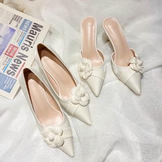 Giày cao gót nữ hoa trà màu trắng gót nhọn cao 6p mũi nhọn hàng cao cấp fullbox có hộp