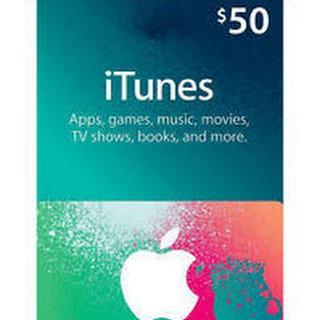 thẻ nhựa itunes giftcard 50$ hệ usa