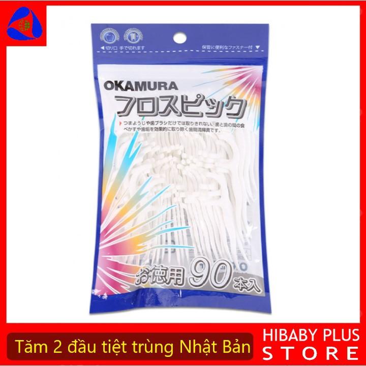 Tăm chỉ nha khoa Okamura Nhật bản đã tiệt trùng, vệ sinh răng miêng, phòng bệnh nha chu - Gói 50/90 chiếc [Hibaby Plus]