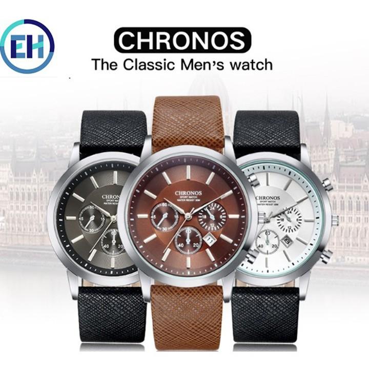 Đồng hồ nam thời trang tặng ví da, kính mắt chống tia cực tím