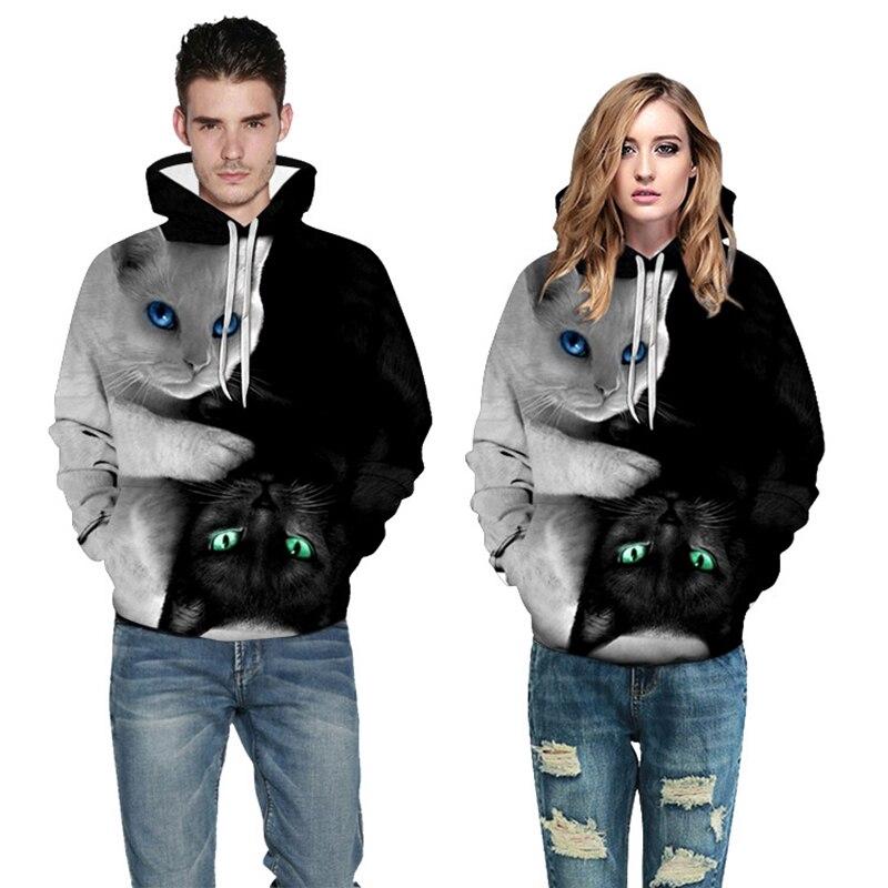 Áo có nón tay dài phối màu in hình mèo 3D thời trang cho nam nữ