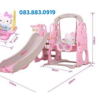 (HÀNG CÓ SẴN) Cầu Trượt Xích Đu Bóng Rổ Hello Kitty Size To