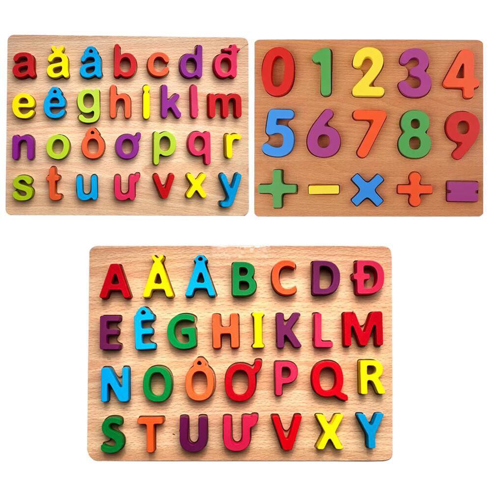 Combo 3 bảng chữ cái gỗ gồm bảng chữ cái tiếng việt in hoa, in thường và số đếm an toàn cho bé