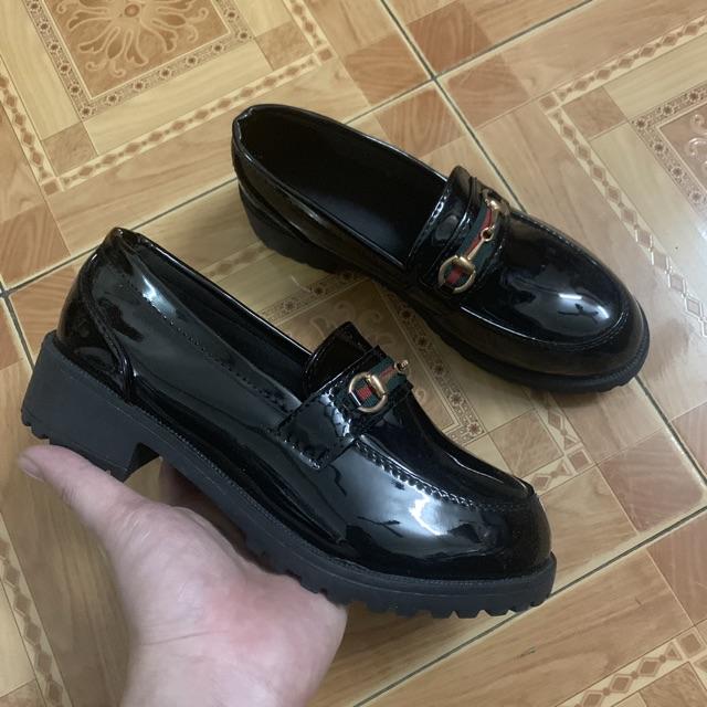 Giày Lười Nữ Da Bóng Đế 3cm H77