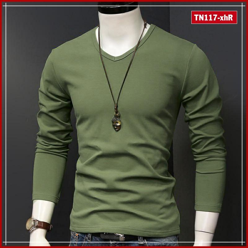 Áo phông nam tay dài trơn cổ tim TN117 nhiều màu sắc vải sợi tre tổng hợp trẻ trung phù hợp mọi giới tính