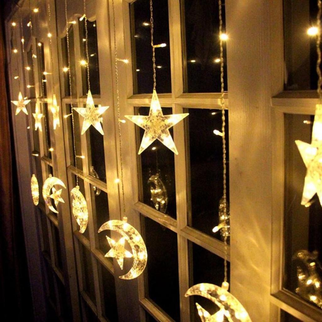 Rèm Đèn Led Chống Nước Xài Điện 220V- Dài 3M Thả Xuống 10 Đèn Led HÌnh Mặt Trăng Ngôi Sao Trang Trí Ngoài Trời Noel