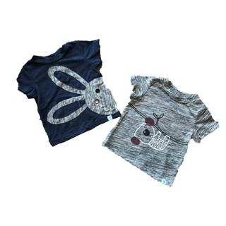 Set 2 áo cộc tay xanh - ghi little love