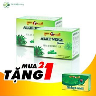 Combo[ 2 hộp ]Đẹp da, Thải độc, thanh nhiệt, dưỡng ẩm Aloe Vera Green tặng 1 hộp Bổ não 30 viên - MediBeauty thumbnail