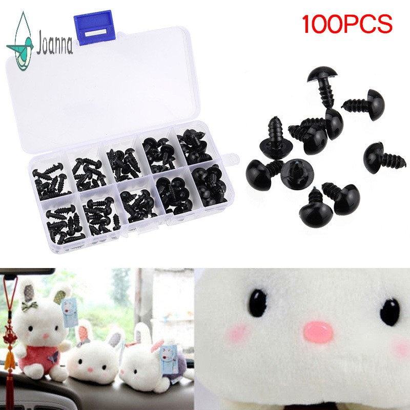 【JA】 100pcs Black Plastic Safety Eyes for Teddy Plush Doll Puppet DIY Crafts 6-12mm
