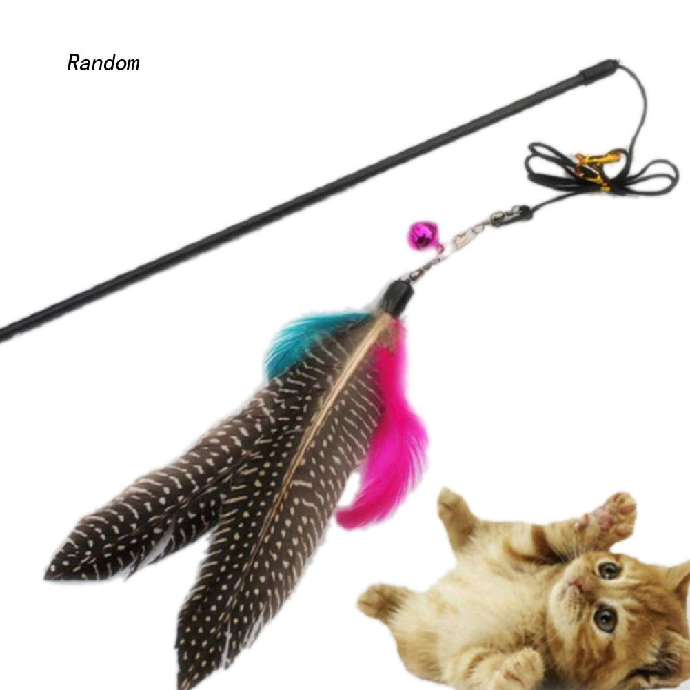 [RA]Great Kitten Play Interactive Fun Toy Cat Teaser Wand Feather Pendant + Bell