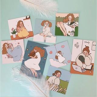 DecorZ Set 8 tranh thẻ cô gái treo tường dễ thương thumbnail