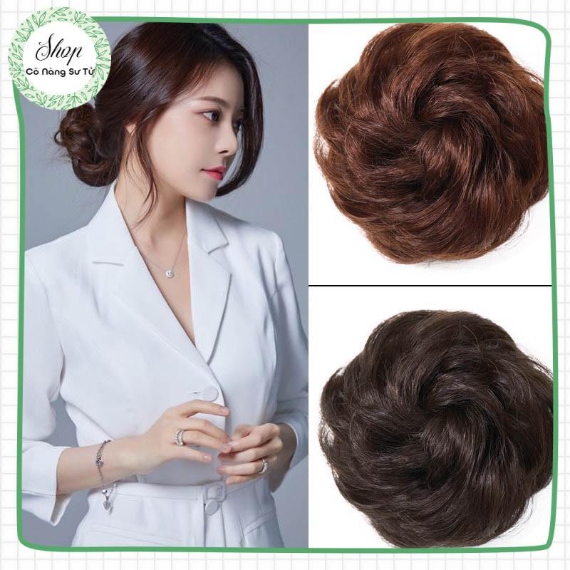 Tóc giả nữ trung niên có chun buộc – búi tóc giả siêu nhẹ tiện dụng không rối xù