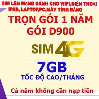 Sim lên mạng 1 năm D900 4G trọn gói 12 tháng lên mạng không cần nạp tiền