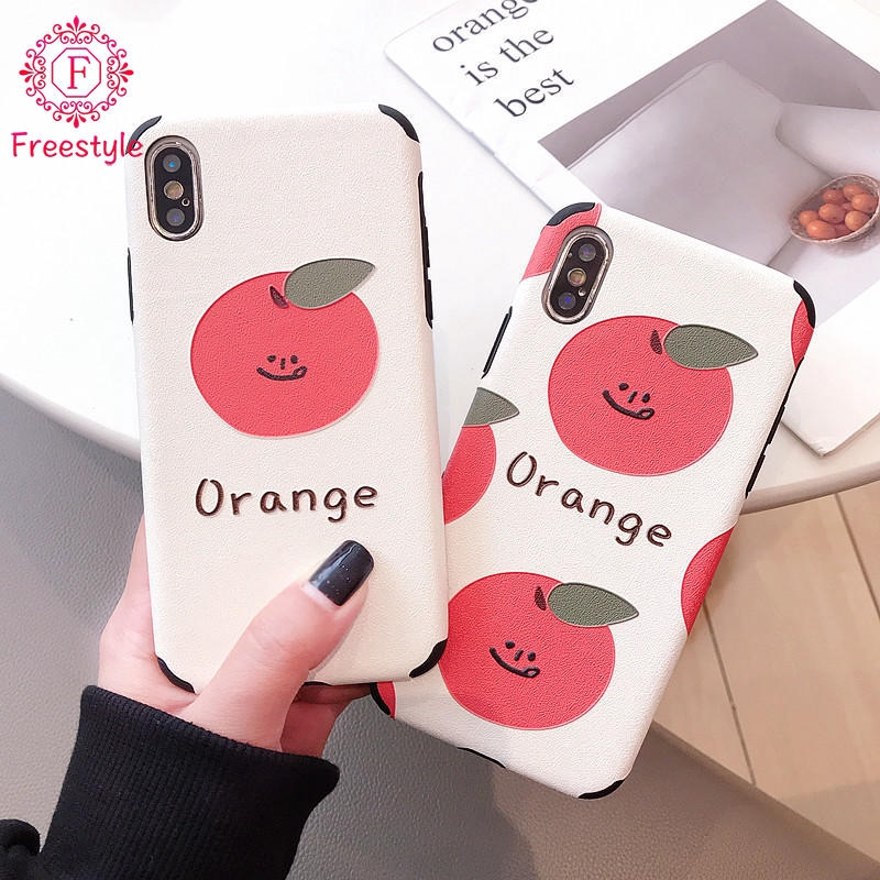 Silk Embossed Case Phone Shell 6G/6S For iPhone Covers Orange 7/8 Plus X/XS XR XS MAX