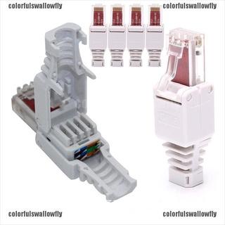 Colorfulswallowfly No Crimp Connectors Ethernet Cable Crystal Head Plug CAT6 RJ45 Connector CSF